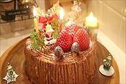 チョコレート切り株クリスマスケーキ