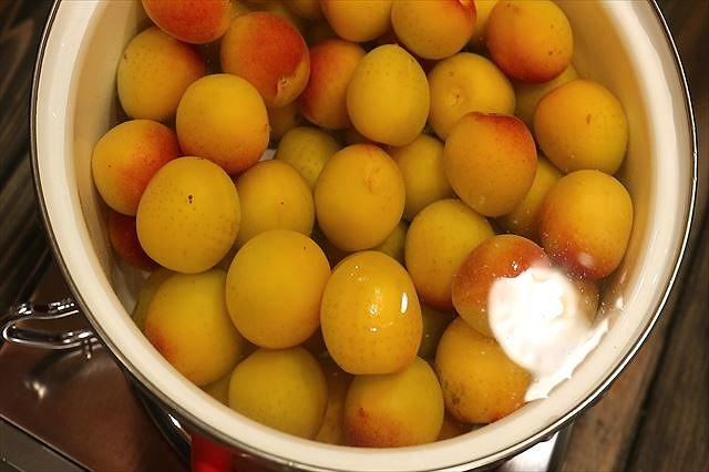 鍋に梅と水を入れる