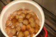 一度甘みをしみ込ませた梅のシロップ煮(甘露煮)