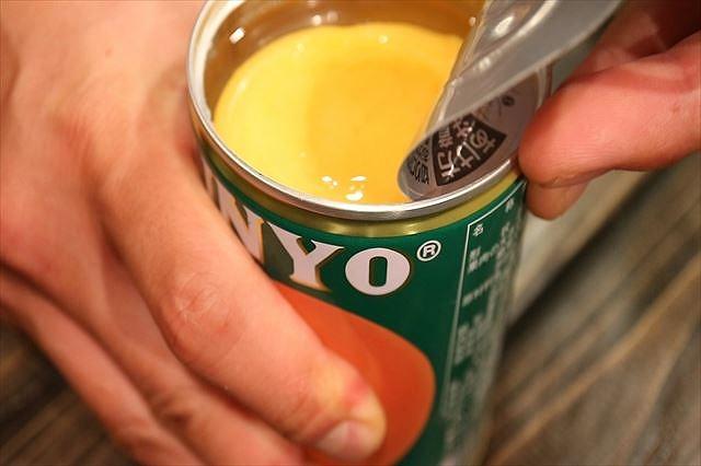 黄桃缶詰あける
