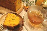 かぼちゃのパウンドケーキと紅茶