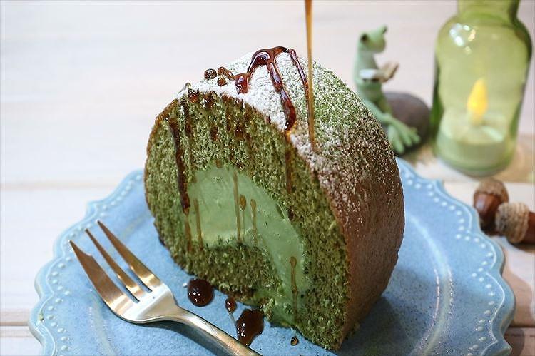 ふんわり抹茶のロールケーキできあがり
