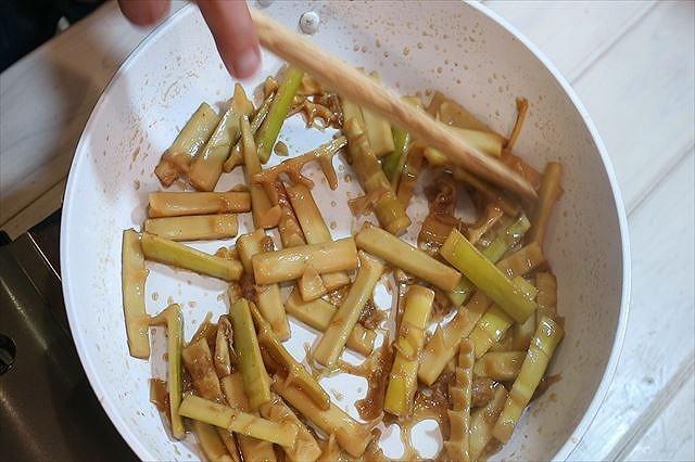 麻竹の炒め煮完了