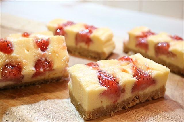 苺のニューヨークチーズケーキ出来上がり