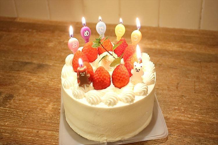 基本のお誕生日・お祝いデコレーションケーキできあがり