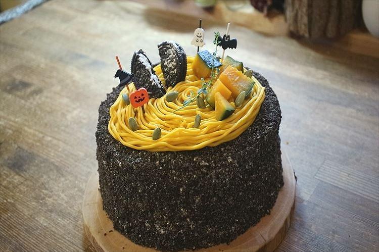 かぼちゃのハロウィンショートケーキできあがり